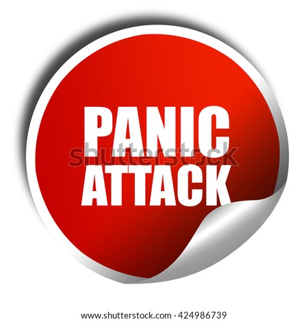 panic attack, 3D rendering, red sticker with white text - stock photo