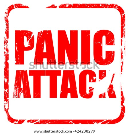 panic attack, red rubber stamp with grunge edges - stock photo