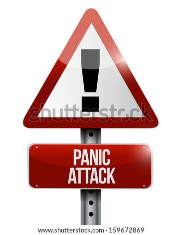 panic attack road sign illustration design over a white background - stock photo
