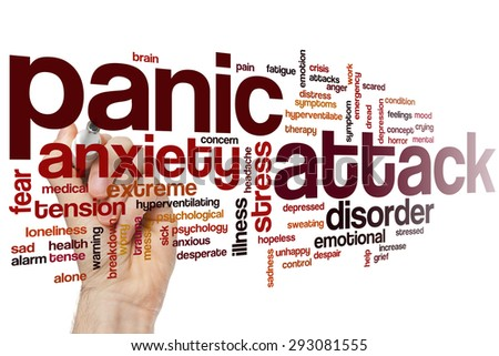 Panic attack word cloud concept - stock photo
