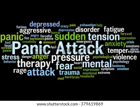 Panic Attack, word cloud concept on black background. - stock photo