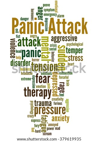 Panic Attack, word cloud concept on white background. - stock photo