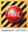 Panic button in red on yellow and black panel - stock photo