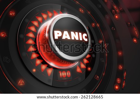 Panic Controller with Glowing Red Lights on Black Console. Control or management concept. - stock photo