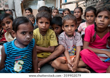 PANIPAT, HARYANA, INDIA - Aug 5 2010: Schoolchildren in rural India