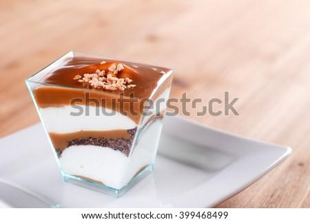 panna cotta cake on the table - stock photo