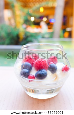 Panna cotta - Delicious dessert with fresh berries and mint swimming pool on the background. Horizontal photo - stock photo