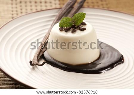 Panna Cotta with chocolate and vanilla beans - stock photo