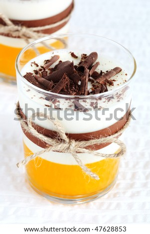 Panna cotta with orange jelly and served with chocolate - stock photo