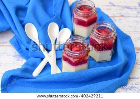 Panna Cotta with Raspberries - stock photo