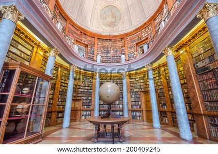 PANNONHALMA / HUNGARY - APRIL 16: Interior of Pannonhalma library on April 16, 2014 in Pannonhalma/Hungary - stock photo