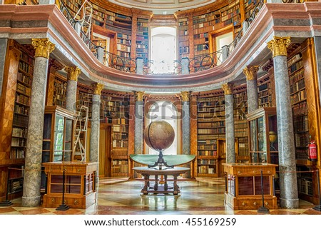 Pannonhalma, Hungary - June 27, 2016: Pannonhalma Abbey library interior in Hungary. UNESCO's World Heritage Site - stock photo