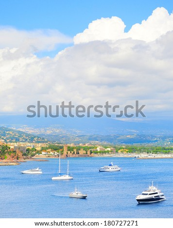Pannorama of sea bay , yachts and boats. French Riviera, Azure Coast or Cote d Azur, Provence, France  - stock photo