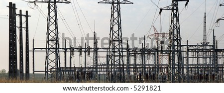 Pano view of an electrical power station - stock photo