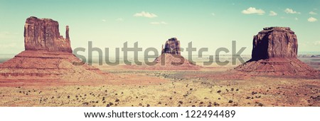 panomaric view of Monument Valley, Utah, USA. - stock photo