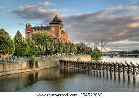 Panoram of Historic city Pargue in Czech Republic - stock photo