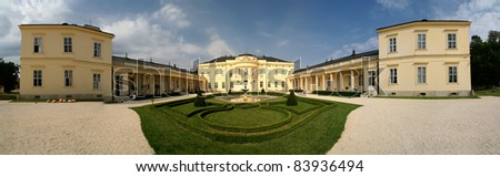 panorama about the baroque castle in csurgo, hungary - stock photo