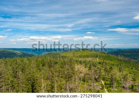 Panorama about the Black Forest from the Friedrichsturm, Baden height, Baden-Baden, Black Forest, Baden-Wurttemberg, Germany, Europe - stock photo