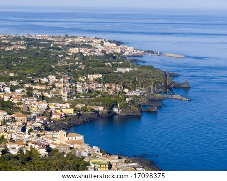 Panorama aerial on the sea and the home of village of the lemons coast in Sicily - stock photo