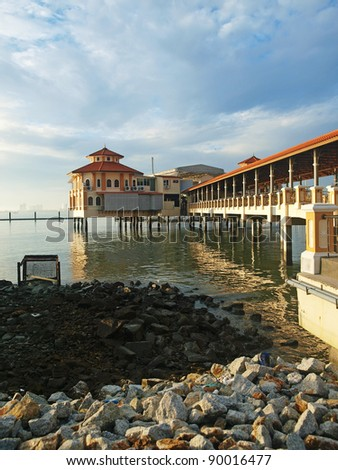 Panorama around Penang beach area - stock photo