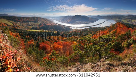 Panorama at autumn from peak Klapy - Povazska Bystrica - stock photo