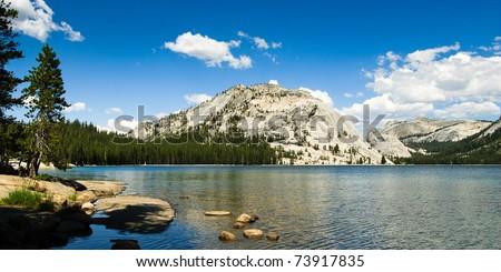 panorama at lake tenaya in yosemite national park, california, usa - stock photo