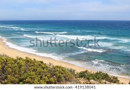 Panorama at Southern Ocean, Mornington Peninsula, Portsea, Victoria, Australia - stock photo