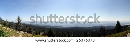 Panorama at the top of Brundage Mountain near McCall, Idaho in the Summer