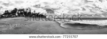 Panorama Bali Indonesia Beach ocean beach sand palm trees black and white landscape sky clouds - stock photo