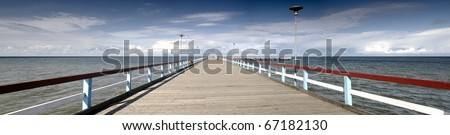 Panorama Baltic sea and bridge in Palanga, coastline in Lithuania - stock photo