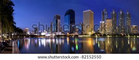 Panorama Bangkok city at night Bangkok, Thailand - stock photo