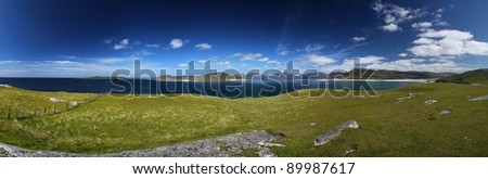Panorama between North and South Harris in summer - stock photo