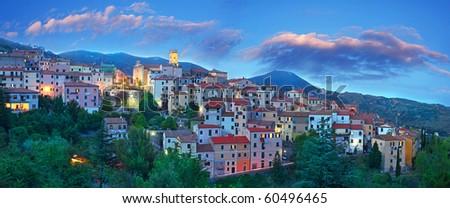 Panorama Blue Hour at Elba Island, Tuscany - stock photo
