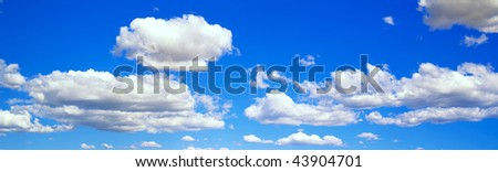Panorama blue sky with clouds - stock photo