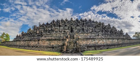 Panorama Buddist temple Borobudur complex in Yogjakarta in Java, indonesia - stock photo