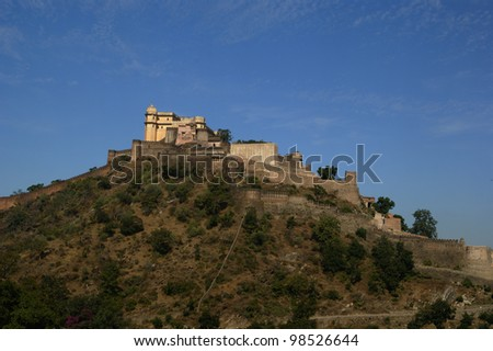 Panorama, Castle and fortified walls of Kumbhalgarh Fort in Rajasthan, India, Asia