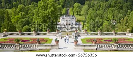 Panorama Castle Linderhof - stock photo