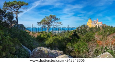 Panorama Castle of Pena. Sintra, Portugal. - stock photo