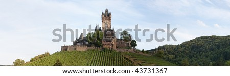 Panorama castle Reichsburg in Cochem (Germany) - stock photo