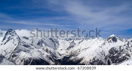 Panorama Caucasus Mountains. Dombay.
