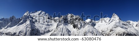 Panorama Caucasus Mountains. Dombay. View from the ski slope - stock photo