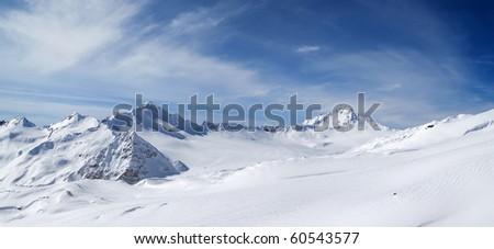 Panorama Caucasus Mountains. Elbrus Region. Ski resort. - stock photo