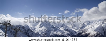 Panorama Caucasus Mountains. Ski resort Dombay.