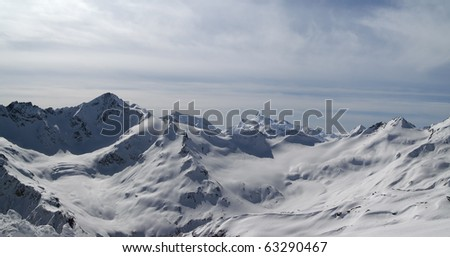 Panorama Caucasus Mountains. View from Elbrus
