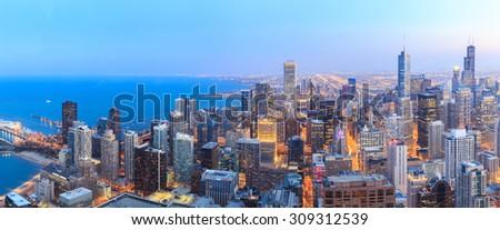 Panorama Chicago skyline aerial view over Lake Michigan. - stock photo
