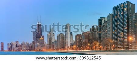 Panorama Chicago skyline. Chicago downtown skyline at dusk. - stock photo