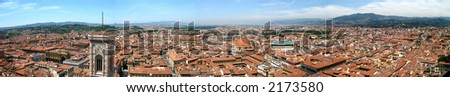 Panorama - city of Florence in Italy - stock photo