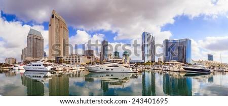 Panorama City View with Marina Bay at San Diego, California USA - stock photo
