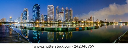 Panorama Cityscape at night Bangkok Thailand