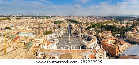 Panorama Cityscape from height, Saint Peter's Square and Cathedral of St. Peter near river Tiber. Rome, Italy